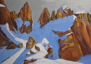 Passo delle Farangole con neve 2008, tempera su carta ruvida, 25x35 cm, Luca Bridda