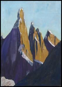 Cerro Torre 2013, tecnica mista su carta da pacchi, 35x50 cm, Luca Bridda
