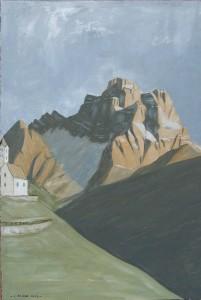 Quadro di Pelmo e Santa Fosca 2013, tempera su carta telata, 24x36 cm, Luca Bridda