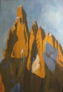 Cerro Torre, 2014, tempera su carta, 35x50 cm, Luca Bridda