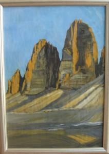 Tre Cime di Lavaredo 2013, tempera su carta, 35x50 cm, Luca Bridda