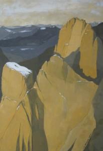 Cima Una - prova 2012, tempera su carta telata, 24x36 cm, Luca Bridda