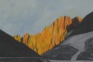 Civetta al tramonto 2013, tempera su carta telata, 24x36 cm, Luca Bridda