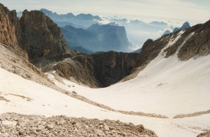 Il ghiacciaietto lungo la via normale alla Cima dei Bureloni (3130 m)