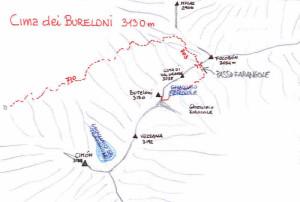 Via normale alla Cima dei Bureloni (3130 m): mappa