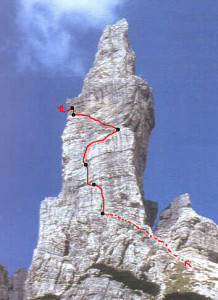 Campanile di Val Montanaia (2173 m) – Via comune Von Glanvell-Von Saar