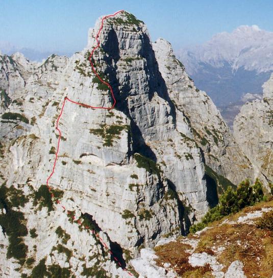 Tracciato della via comune (Schuster-Conedera-Zecchini) con variante scorciatoia alla Cima del Bus del Diaol, Monti del Sole