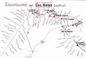Col Nudo (2471 m) - via normale di salita