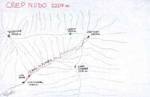 Crep Nudo (2207 m) - tracciato