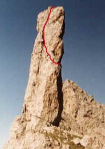 Gusela del Vescovà (2361 m) – Via Jori-Andreoletti-Pasquali: il tracciato