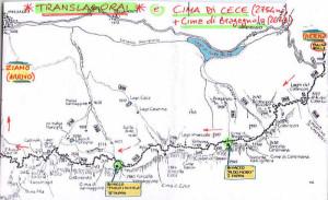 Translagorai - trekking di 3 giorni: tracciato.