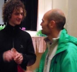 Luca Bridda con il campione di arrampicata sportiva Adam Ondra
