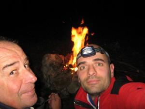Con Fausto Durante, bivacco in montagna.