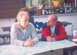 Con il grande scrittore Pietro Sommavilla prima della salita della Gola Nord-Est.