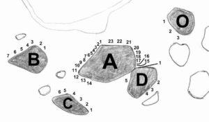 Falesia del Mas - schizzo massi a b c d o