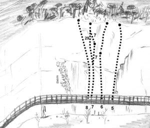 Falesia della Passerella - schizzo settore Laura il camionista