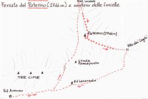 Paterno (2744 m) – vie ferrate per salita e discesa: itinerario