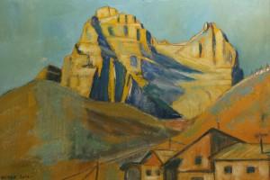 Quadro a tempera su cartone di Luca Bridda: il Pelmo da Zoppè di Cadore. Disegni e dipinti di paesaggi montani di Luca Bridda