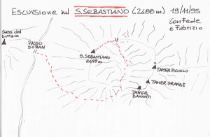 Via normale alla Cima del San Sebastiano: mappa