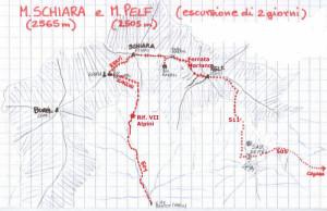 Schiara (2565 m) e Monte Pelf (2502 m) - vie ferrate e vie normali di salita