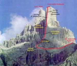 Tracciato della via che sale lo Spigolo del Velo alla Cima della Madonna, nelle Pale di San Martino.