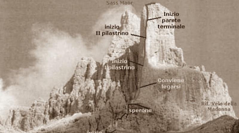 Spigolo del Velo alla Cima della Madonna, Pale di San Martino. Tracciato della via.