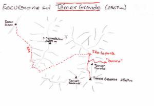 Via normale al Tamer Grande: piantina