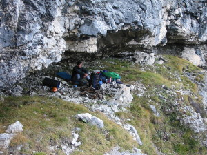 Luogo di bivacco nel Van Grant, prima della salita del Torrione Val Cordevole