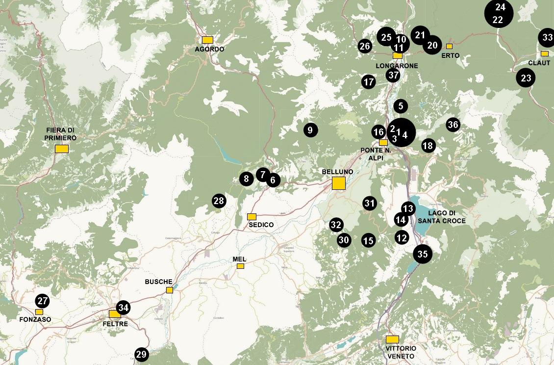 Cartina falesie e aree boulder presenti nella guida alle falesie di Belluno, Alpago, Val Cellina, Feltrino, Valle del Piave