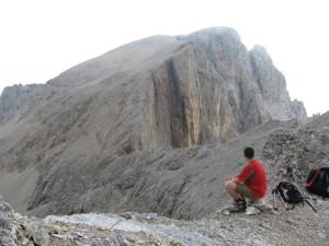 In vista del Monte La Banca lungo la via normale di salita