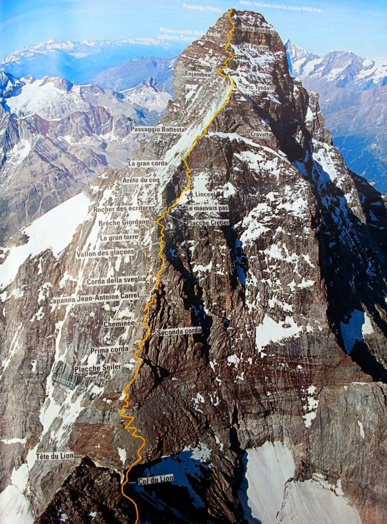 Cresta del Leone, Cervino, tracciato via di salita