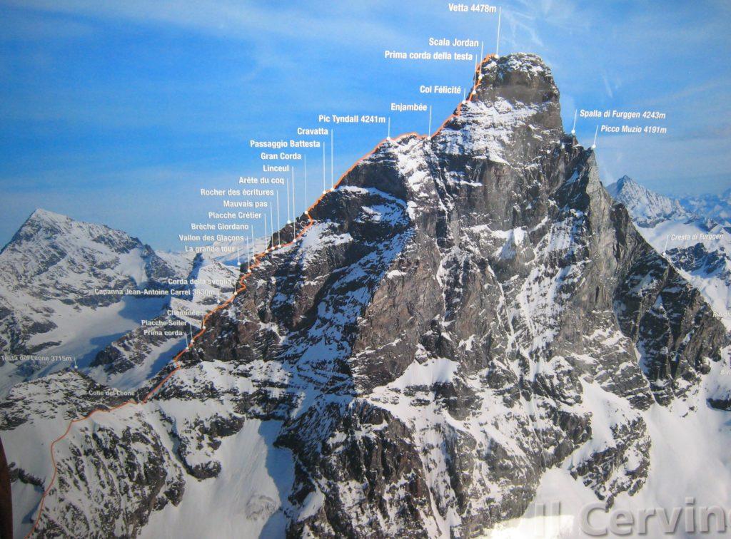 Monte Cervino parzialmente innevato: tracciato della Cresta del Leone, via italiana.
